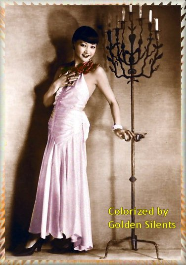 Anna May Wong 1920's postcard - colorized by Golden Silents