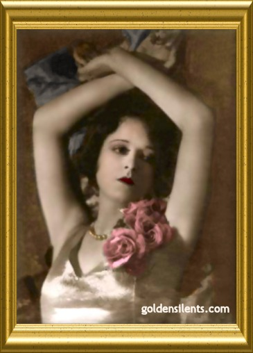 Clara Bow in a glamour shot, colorized by www.goldensilents.com