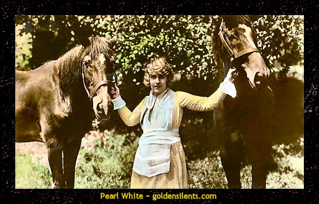 Pearl White in The Perils of Pauline with her horses