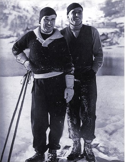 Charles Chaplin and Doug Fairbanks on skiing holiday